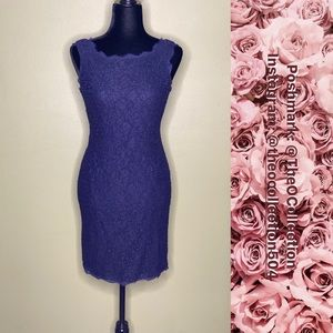 Adrianna Papell Navy Blue Lace Dress Size 4